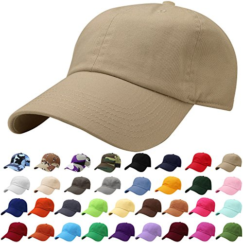 (Falari Baseball Cap Hat 100% Cotton Adjustable Size Khaki 1804)