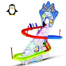 Haktoys Playful and Educational Penguin Slide Race Set - Improved Version Playset with Flashing Lights