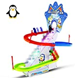 Haktoys Arctic Fun Playful Penguin Race Set, Upgraded Version with LED Flashing Lights & Music On/Off Button for Quiet Play, Jolly Penguin Slide Playset, Safe & Durable, Great Gift for Toddlers & Kids