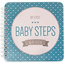 "NEW! Baby First Year Memory Mini Book. Aqua Lagoon ""Modernista""(TM), Poly Cover Hand Made. Intimate, travel size memory keeper record book and journal for Boy or Girl. 5x5"" - Best Shower Gift!"