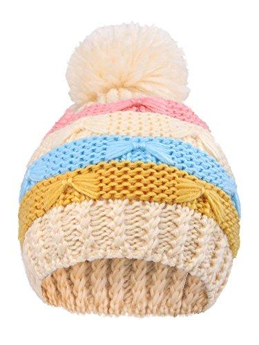 Arctic Paw Toddlers Super Chunky Striped Knit Beanie with Yarn Pompom, Cream