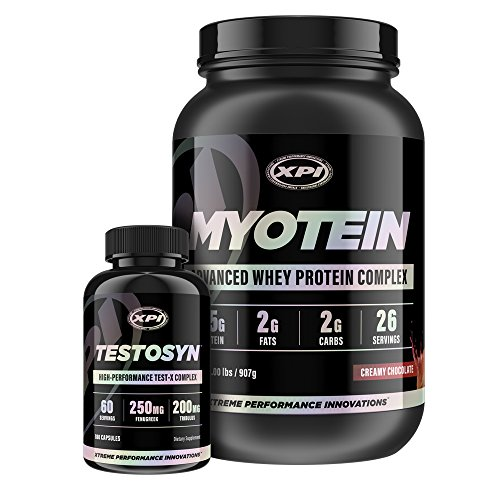 XPI Myotein Protein (Chocolate, 2Lb) & Testosyn - Best Whey Protein Powder/Shake - Hydrolysate, Isolate, Concentrate & Micellar Casein & Top Rated Testosterone Booster
