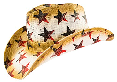 American Patriotic Western Straw Cowboy Hat, Vintage Style Red, White & Blue Stars, Shape-able Brim, Flex Fit -