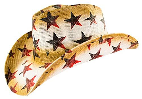 American Patriotic Western Straw Cowboy Hat, Vintage Style Red, White & Blue Stars, Shape-able Brim, Flex ()