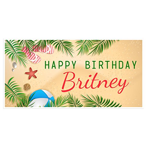- Palm Trees Birthday Banner Personalized Party Backdrop