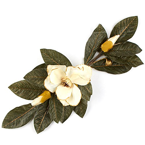 Factory Direct Craft Artificial Magnolia Swag with Gold Glitter Trimmed Petals | for Indoor Decor ()