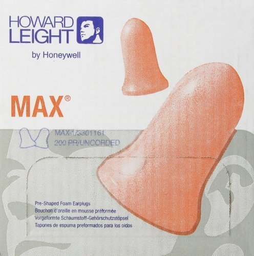 Howard Leight by Honeywell MAX Disposable Foam Earplugs, 200-Pairs (MAX-1) by Howard Leight