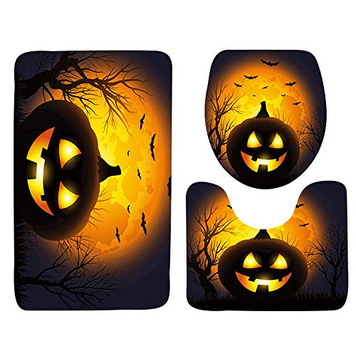 3Pcs/Set Halloween Bathroom Set, Businda Pumpkin Lantern Toilet Lid Cover and Non-slip Rug Bathroom Bath Accessories by Businda