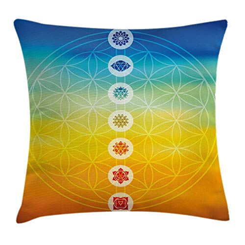 Ambesonne Abstract Throw Pillow Cushion Cover, Gradient Toned Chakra Centers Power of The Universe Harmony Ancient Design, Decorative Square Accent Pillow Case, 16 X 16 Inches, Multicolor