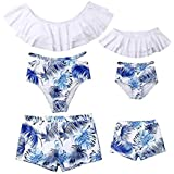 Family Matching Swimsuit Mom and Girl Palm Leaf Print Off Shoulder Ruffles Bathing Suit Daddy and Boy Trunks
