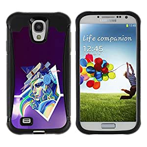 CAZZ Rugged Armor Slim Protection Case Cover Shell // Abstract Pop Art Neon Woman // Samsung Galaxy S4