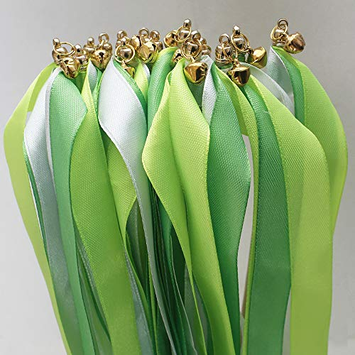 24 pcs Green St Patrick's Day Silk Wish Wands Ribbon Streamers with Bell Fairy Stick Party Favor for Wedding Birthday Baby Shower Spring Holiday Event Celebration Decorations ()