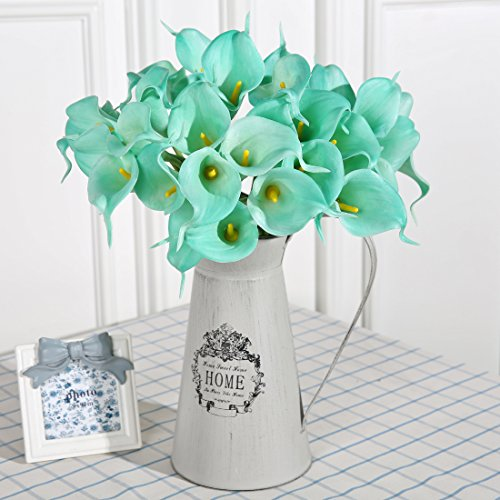 Luyue Calla Lily Bridal Wedding Bouquet Head Lataex Real Touch Flower Bouquets Pack of 20 (Lake Blue)