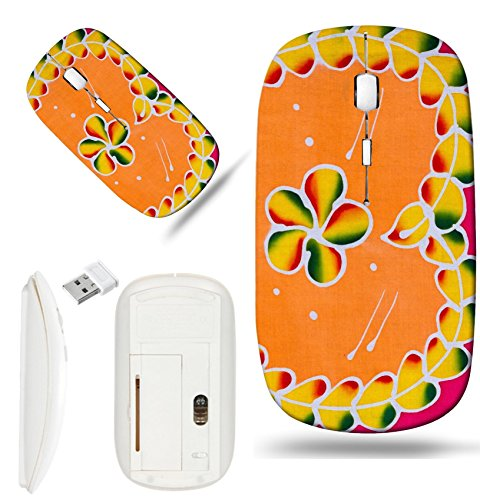 Luxlady Wireless Mouse White Base Travel 2.4G Wireless Mice with USB Receiver, 1000 DPI for notebook, pc, laptop, mac design IMAGE ID: 42737314 Batik style of heart shape background