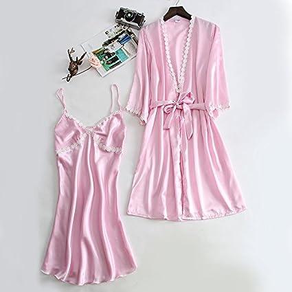 Wanglele Pijama para Dormir Cara Satinada De Mujeres En Batas De Manga Larga Vestido Sueño Establece