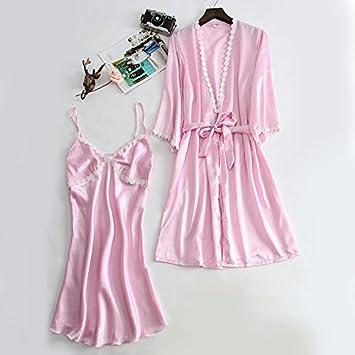Wanglele Pijama para Dormir Cara Satinada De Mujeres En Batas De Manga Larga Vestido Sueño Establece Dos Novias Delgadas Desgaste Mañana Pijamas, XXL, ...