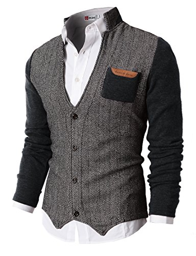 H2H Mens Herringbone City Casual Knitwear Casual Shawl Collar Cardigan Sweaters Charcoal US 2XL/Asia 3XL (KMOSWL015)