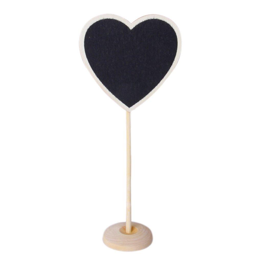 SODIAL (R) 1 pezzo di lavagna da tavolo a forma di cuore di legno con piede SODIAL(R) LEPAZIK663