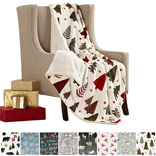 Christmas Blanket - Great Bay Home Super Soft Fleece Sherpa Holiday Throw Blanket - Cozy, Warm White Holiday Trees Design Blanket. Eve Collection (50