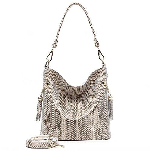 Embossed Shiny Snake - Designer Real Leather Shiny Snake Pattern Embossed Female Shoulder Bags Women Everyday Handbags beige