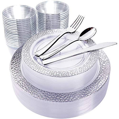 180pcs Plastic Silver Lace Plates, Silver Plastic Silverware,Plastic Cup with silver rim, Include 30 Dinner Plates, 30 Salad Plates, 30 Silver Cups, 30 Silver Knives, 30 Silver Forks, 30 Silver Spoons