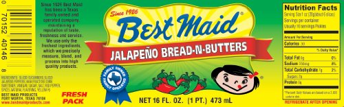 Best Maid Jalapeno Bread-n-Butters Pickles 16oz Jar (Pack of 3)