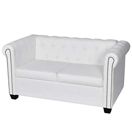 Amazon.com: White Chesterfield Sofa 2 Seater Modern Double Couch ...