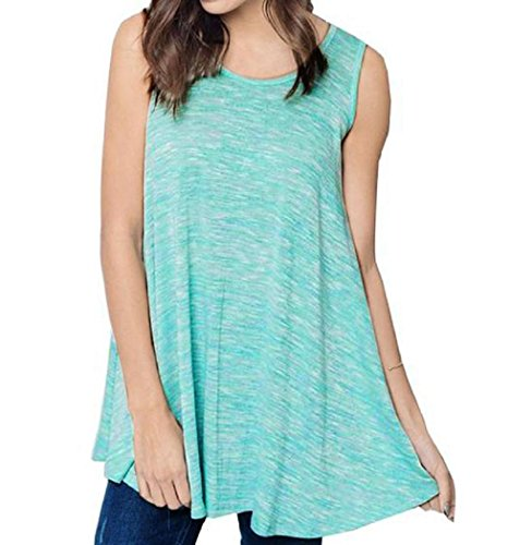 VESNIBA Women Summer Sleeveless Blouse Loose Raceback Tank Tops T Shirt (M, Green) (M&m Tank Costume)