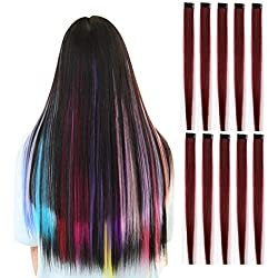 Rosette Hair 20 Inch 10pcs/set Multiple Colors Colored Hair Extensions-Party Highlights Straight Heat Hairpieces-Synthetic Clip on in Hair Extensions (wine red)
