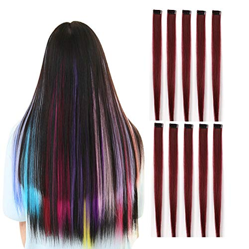 (Rosette Hair 20 Inch 10pcs/set Multiple Colors Colored Hair Extensions-Party Highlights Straight Heat Hairpieces-Synthetic Clip on in Hair Extensions (wine red))