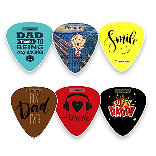 Dad Guitar Picks Celluloid Medium (12-Pack) - Best Dad Ever - Unique Gifts for Superhero Fathers Day and Daddy Birthday - Best Dad Gifts