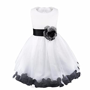 d10b48883 Girl Flowers Petal Sleeveless Wedding Formal Dress Kid Princess Bridesmaid  Christening Party Dresses 2-14 Years: Amazon.co.uk: Clothing