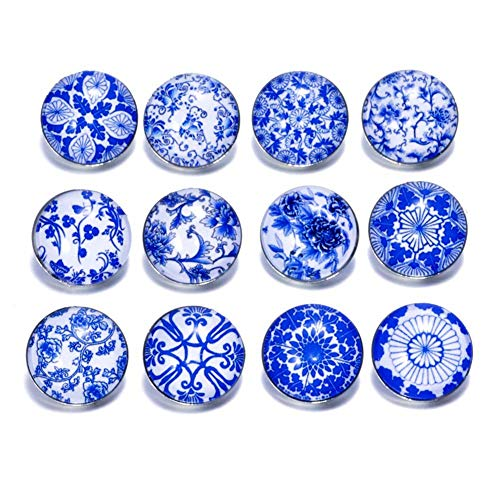 (Soleebee 12 pcs Round Aluminum Glass 18mm Snap Button Jewelry Charms for Interchangeable Snaps Jewelry Making (Blue and White Porcelain))