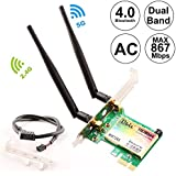 Ubit Wireless Network Card, Wireless WiFi Dual Band Gigabit Adapter, 867Mbps 2.4Ghz-300Mbps/5Ghz-867Mbps with High-gain Antenna Bluetooth 4.0 PCI-E Wireless WiFi Network Adapter