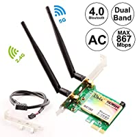Wireless Network Card, Ubit Wireless WiFi Dual Band Gigabit Adapter, 867Mbps 2.4Ghz-300Mbps/5Ghz-867Mbps with High-gain Antenna Bluetooth 4.0 PCI-E Wireless WiFi Network Adapter