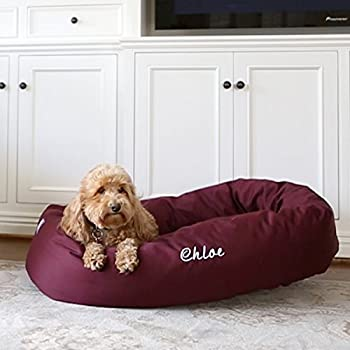 Image of Home and Kitchen Majestic Pet Personalized Bagel Style Dog Bed - Machine Washable - Soft Comfortable Sleeping Mat - Durable Supportive Cushion - Custom Embroidered Dog Bed and Sizes