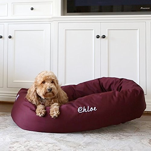 Cheap Majestic Pet Personalized Bagel Dog Bed – Machine Washable – Soft Comfortable Sleeping Mat – Durable Bedding Supportive Cushion Custom Embroidered – available replacement covers – Small Burgundy