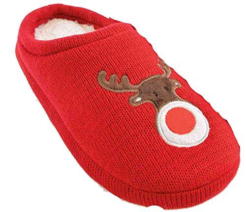 SlumberzzZ–Rudolf bordado de punto Mule Estilo zapato de forro polar Red