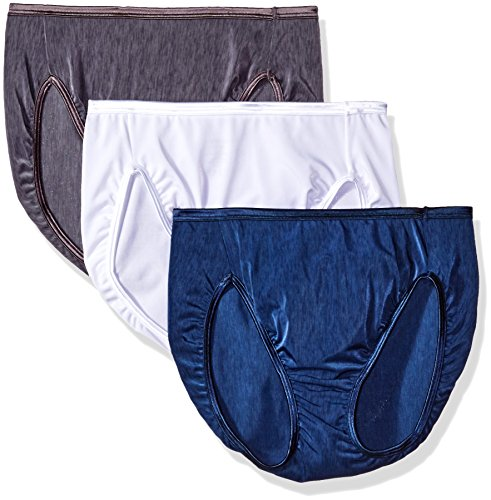 Vanity Fair Women's 3 Pack Illumination Hi Cut Panty 13308, Star White/Admiral Navy/Steel Violet, 6