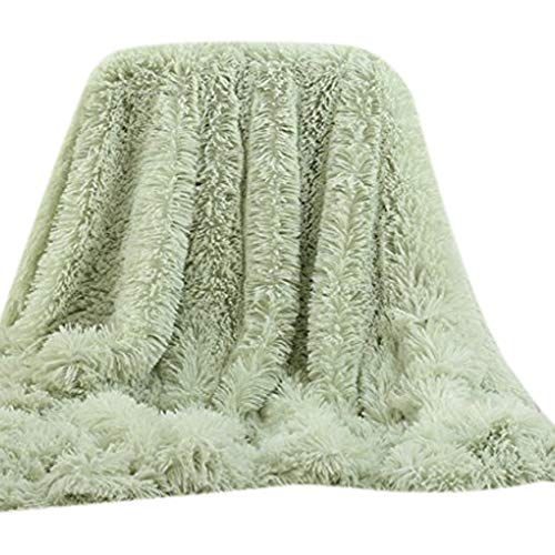 Extra Long Throw - Soffte Cloud Super Soft Long Shaggy Warm Plush Fannel Blanket Throw Qulit Cozy Couch Blanket for Winter Light Green(51