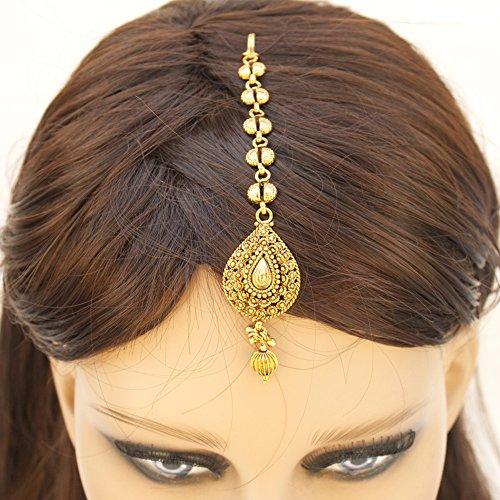 Indian Pakistani Ethnic Gold Plated Mang Tika Bollywood Hair Ornament Bridal Wedding