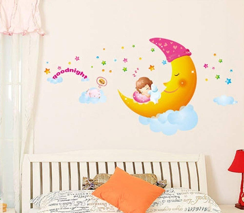 ufengke® Sweet Dreams Little Girl Sleeping On the Moon Wall Decals, Children's Room Nursery Removable Wall Stickers Murals(S)