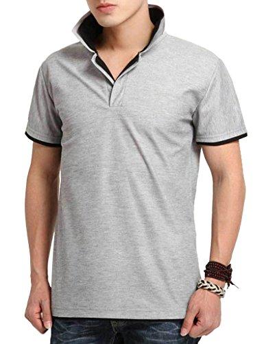 Wantdo Summer Men Short Sleeve Polo Shirt(Black collar,Large Loose)