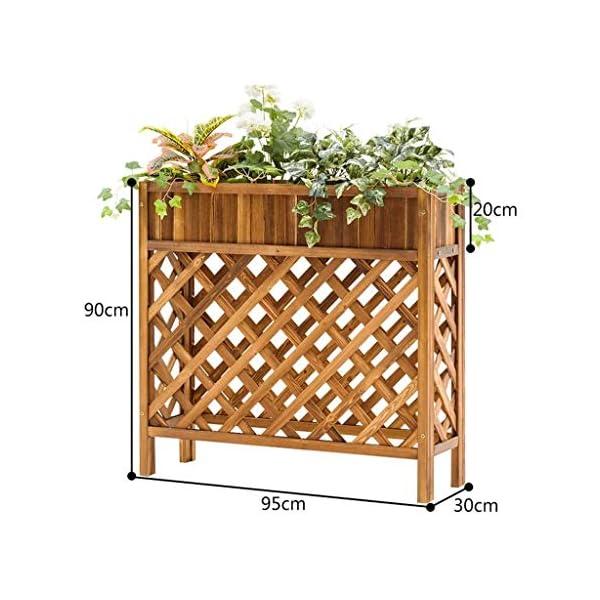 HEMFV Solido Fiore Legno Posizione Balcone Fence Wood Floor Minimalista Moderno Flower Pot Stand al Coperto Soggiorno 2 spesavip
