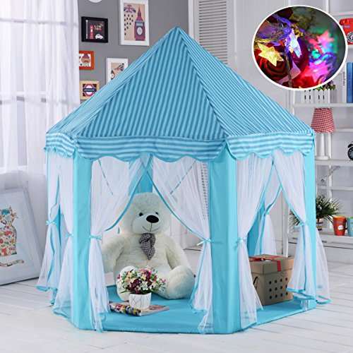 Aubeco Blue Hexagon Play Castle Indoor Kids Play Tent Outdoor Boys & Girls Playhouse with 23ft LED Star String Lights, Birthday for Kids, 55(Diameter)×53( Height)