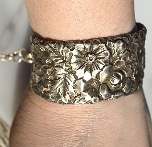 Victorian Art Nouveau Wide Floral Bouquet Gorham Sterling Silver Cuff Bracelet 925 .925