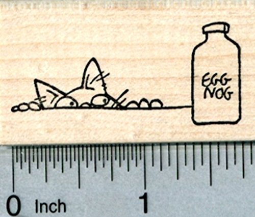 Christmas Cat Rubber Stamp, with Holiday Eggnog