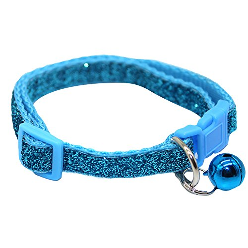 (eroute66 Shiny Sequins Pet Collar Dog Cat Quick Release Buckle Necklace with Bell Pendant - Blue)