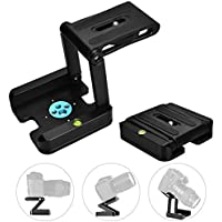 UTEBIT Z-Type Foldable Tilt Head Adapter with 1/4 and 3/8 Thread Hole Strengthen Aluminum Alloy Tripod Flex Pan and Tilt Mount Compatible Slide Rail, Camera, Camcorder