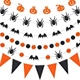 Gejoy 6 Pieces Halloween Party Supplies Paper Garland Hanging Decorations, Pumpkin, Spider, Bat, Circle Dot and Pennant Halloween Paper Banner